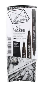Derwent Graphik Line Painters, Black, Set of 3
