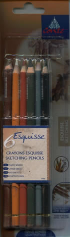 Six Sketching Pencils Crayons Esquisse by Conte