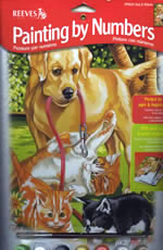 Dog and Kittens Medium Paint by Number Set