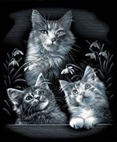Mother and Kittens Reeves Silver Scraperfoil