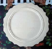 Wooden Plate Beaded Scalloped Narrow Rim