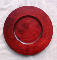 "12"" Rim Charger Plate with Cranberry Red Finish"
