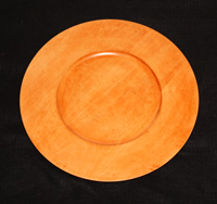 "12"" Golden Fruitwood Finished Maple Rim Charger Plate"